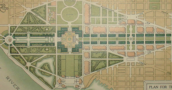 George glazer gallery antique maps plan for the mall at washington d c 1902 for Who designed the basic plan for washington dc