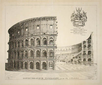 George glazer gallery antique prints the coliseum for Print architectural drawings